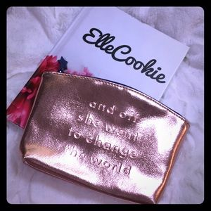 IPSY Rose Gold Embossed Quote Makeup Bag